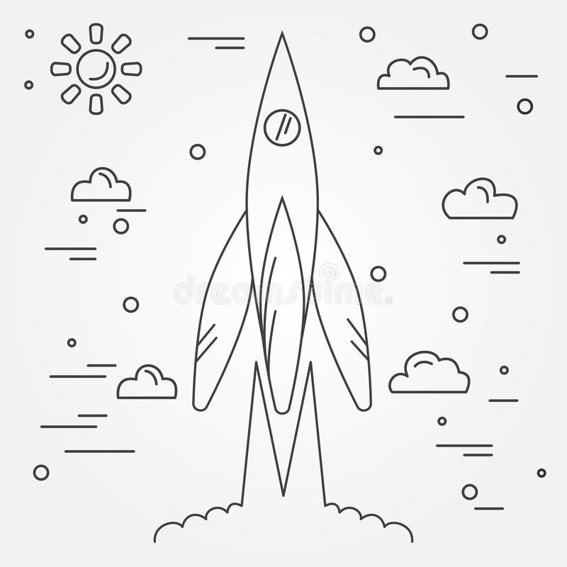 Startup. Rocket thin line icon. Human Space Flight. Vector illus royalty free illustration