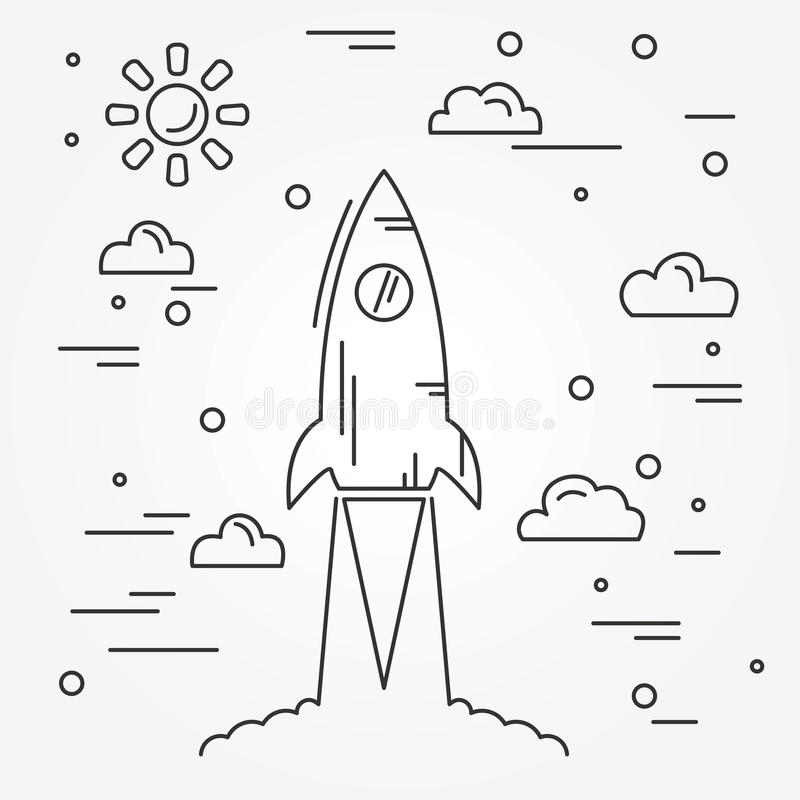 Startup. Rocket thin line icon. Vector royalty free illustration