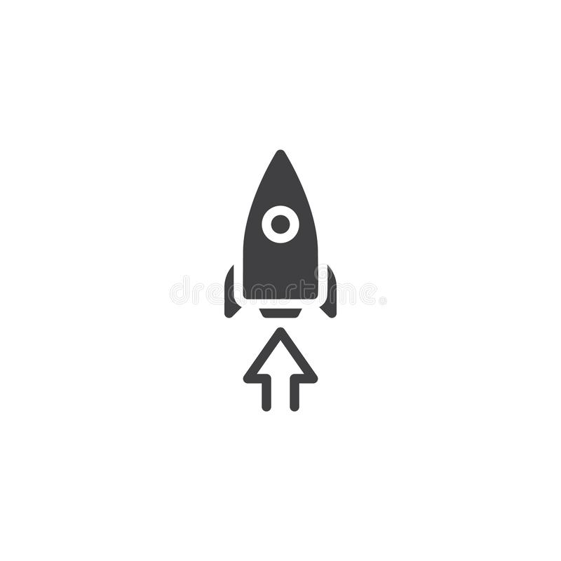 Startup rocket vector icon. Filled flat sign for mobile concept and web design. Rocket and arrow up simple solid icon. Symbol, logo illustration. Pixel perfect royalty free illustration