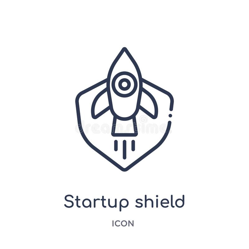 startup shield icon from startup stategy and success outline collection. Thin line startup shield icon isolated on white vector illustration