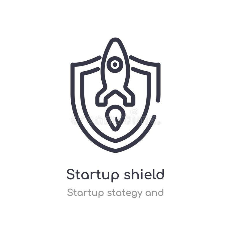Startup shield outline icon. isolated line vector illustration from startup stategy and collection. editable thin stroke startup. Shield icon on white royalty free illustration