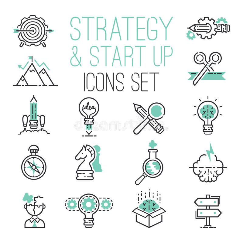 Startup strategy outline web business icon set websites ui finance start up vector symbols. royalty free illustration