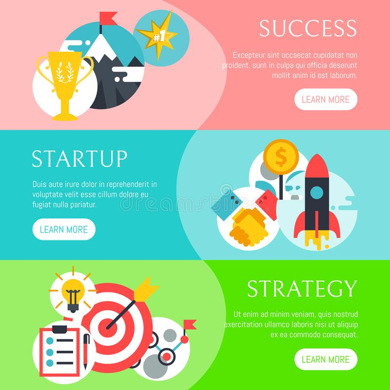 Startup strategy set of banners vector illustration. Digital marketing, srartup planning analytics. Achieving success stock illustration