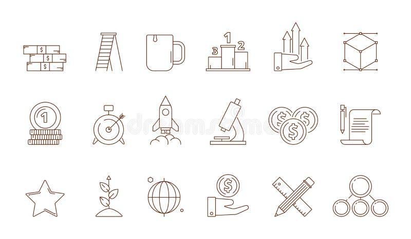 Startup symbols. Business idea franchise creative production marketing development perfect strategy rocket vector line stock illustration