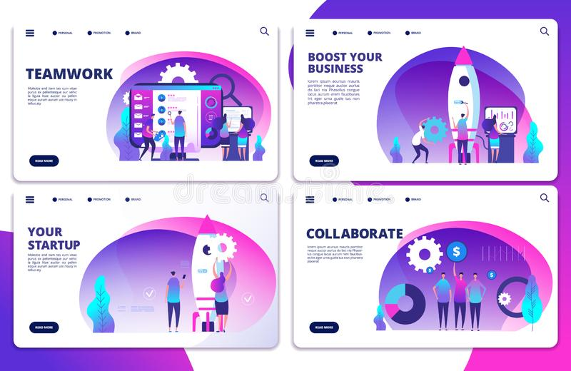 Startup, team work, collaborate vector landing page templates. Illustration of teamwork and collaboration, success people vector illustration