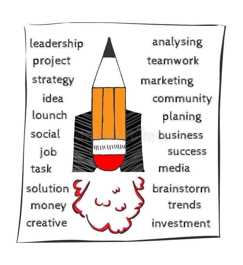 Startup technology concept. Thin line art style design for startup banner. Hand drawn cartoon vector illustration. Sketch of busin stock illustration
