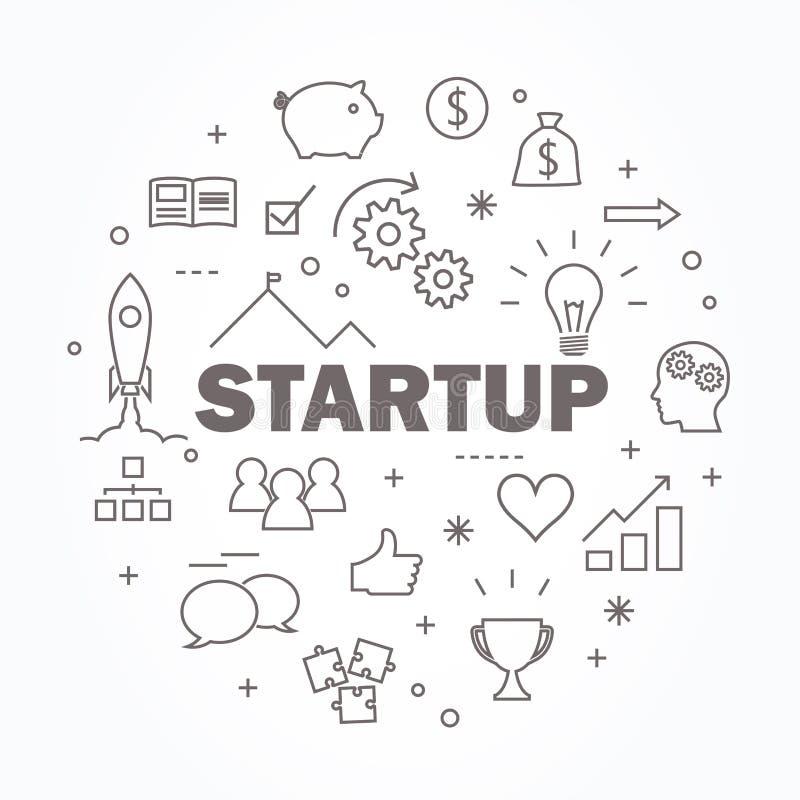 Startup thin line icon set. Vector illustration. Startup thin line and flat icon set. Vector illustration royalty free illustration