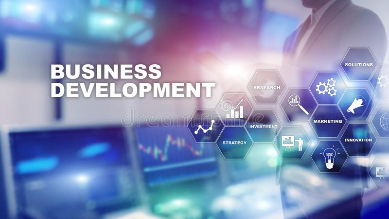 Startup tillv?xtstatistik f?r n?ringslivsutveckling Grafiskt begrepp f?r finansiell planstrategiutvecklingsprocess stock illustrationer