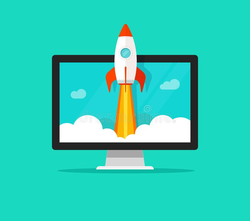 Startup vector concept, flat cartoon quick rocket launch and computer or desktop. Startup vector concept, flat cartoon style quick rocket launch and computer or royalty free illustration