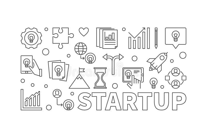 Startup vector horizontal illustration or banner in line style. Startup vector horizontal illustration or banner in thin line style stock illustration