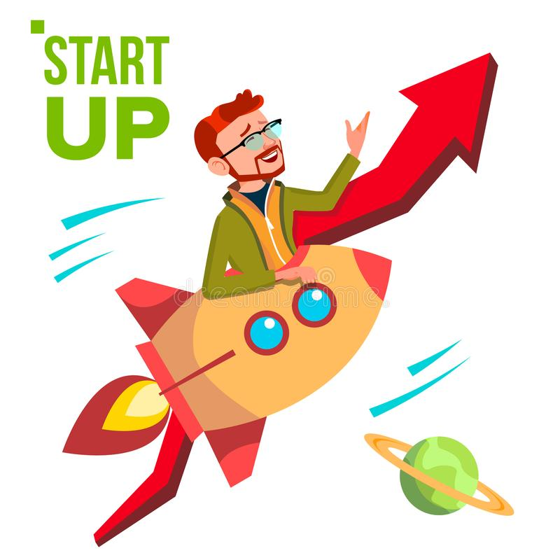 Startup Vector. Rocket Soars Up On Background Of Red Arrow Growthing Up. Businessman Enjoying Good Start. Illustration vector illustration