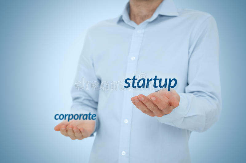 Startup versus corporate. Business concept. Young businessman (or employee) prefer startup company against corporation. Career coach advice to be startup stock images