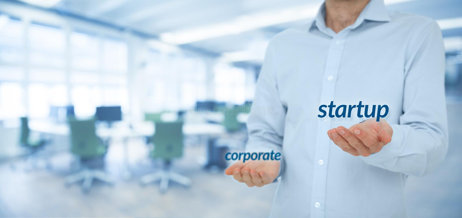 Startup versus corporate. Business concept. Young businessman (or employee) prefer startup company against corporation. Wide banner composition and office in royalty free stock image