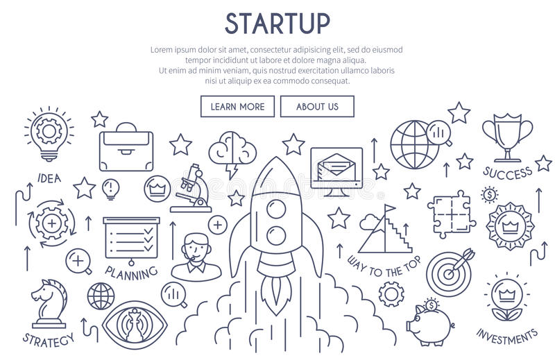Startup Web Design Concept thin line. Startup Banner Illustration with Icons. Web Design Concept in Thin Line Style. Vector illustration vector illustration