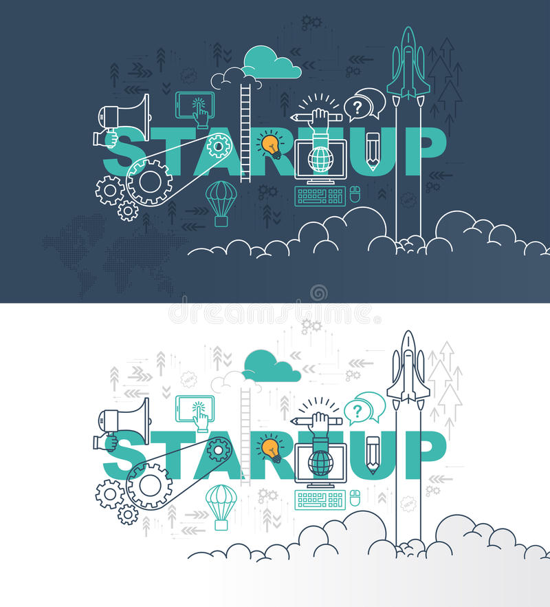 Startup web page banner concept with thin line flat design. Vector illustration eps-10 royalty free illustration
