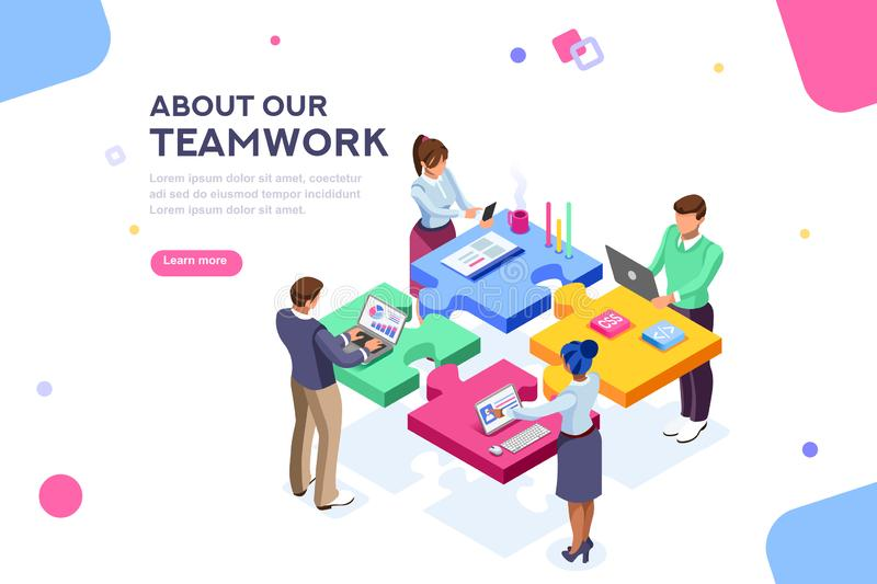 Startup Employees Goal Website Template Banner. Startup employees. Goal thinking, infographic of puzzle. Cooperation construction by agency group to create a stock illustration