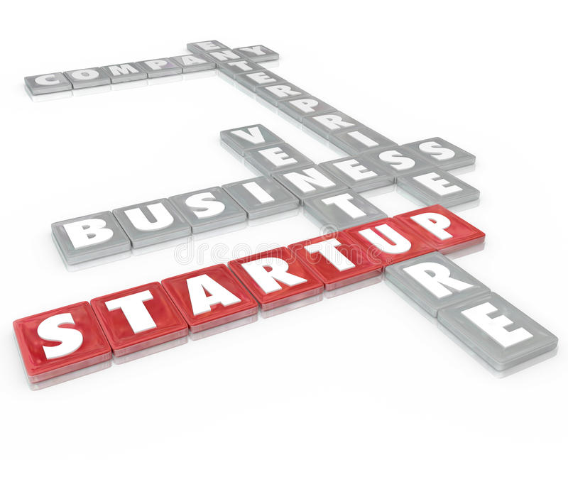 Startup Word Tiles Business Company Enterprise. Startup words on letter tiles including company, enterprise, business and venture to illustrate starting a new stock illustration