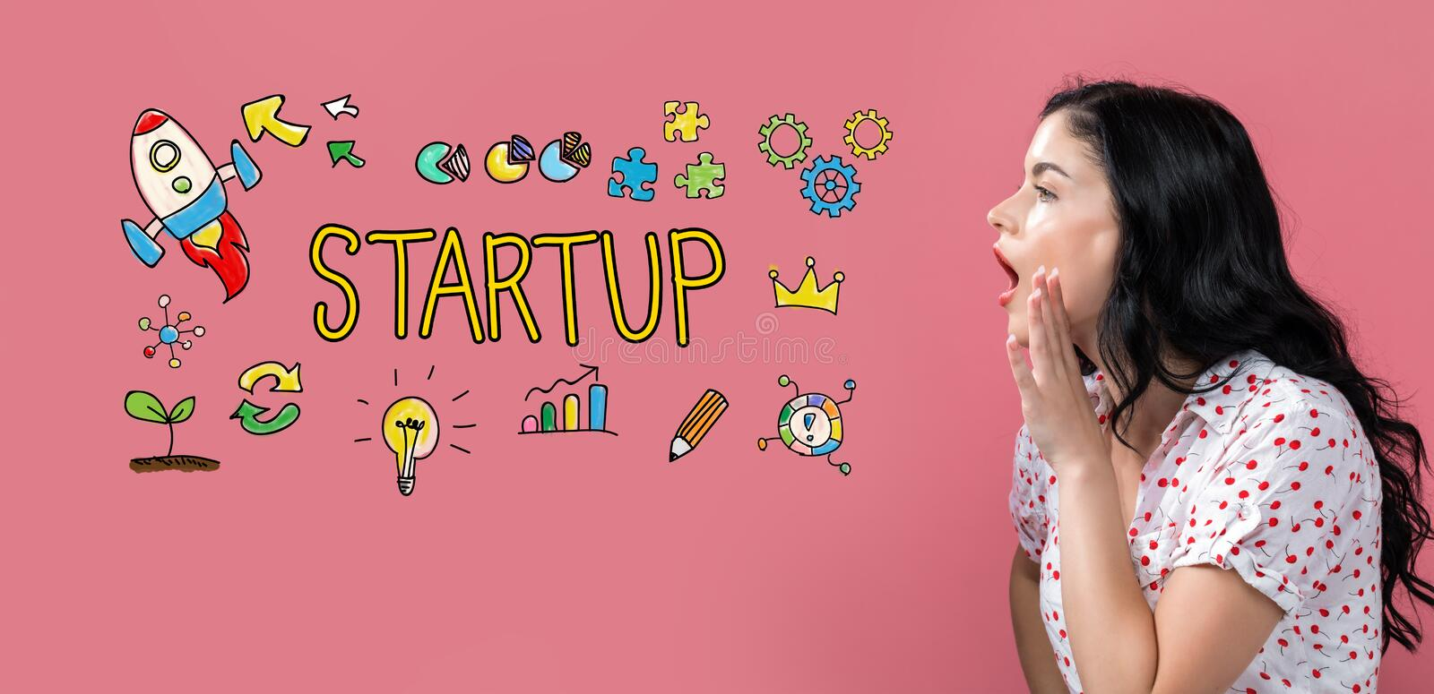 Startup with young woman speaking. On a pink background stock images