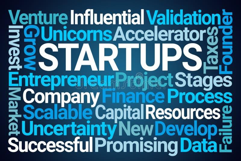 Startups Word Cloud. On Blue Background royalty free illustration