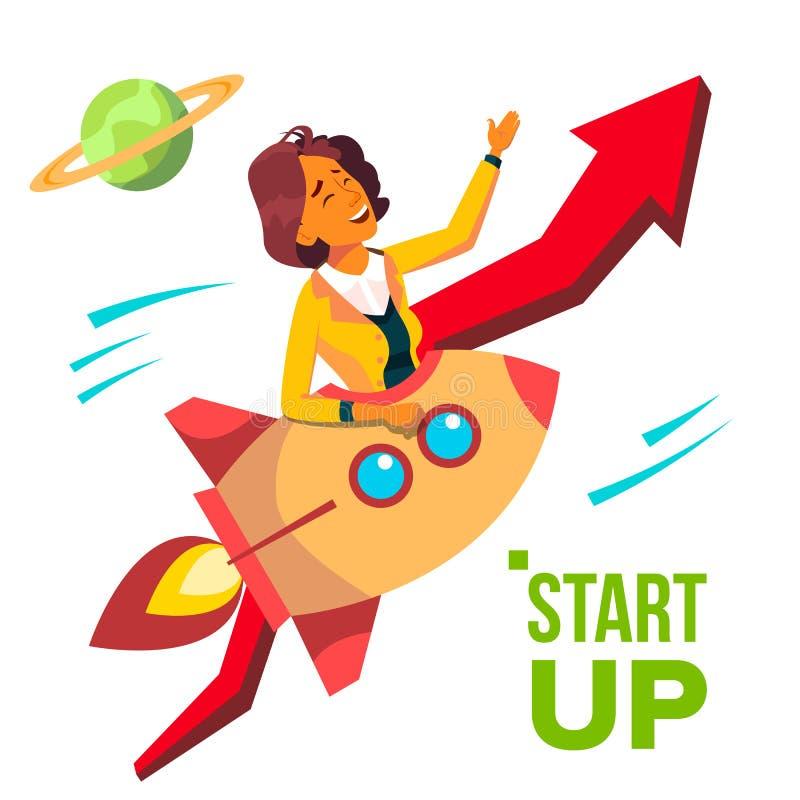 Startvektor Rocket Soars Up On Background des roten Pfeiles Growthing oben Geschäftsfrau, die guten Anfang genießt stock abbildung