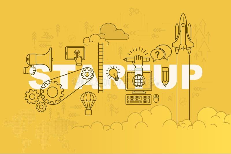 StartWeb-pagina bannerconcept met dun lijn vlak ontwerp royalty-vrije illustratie