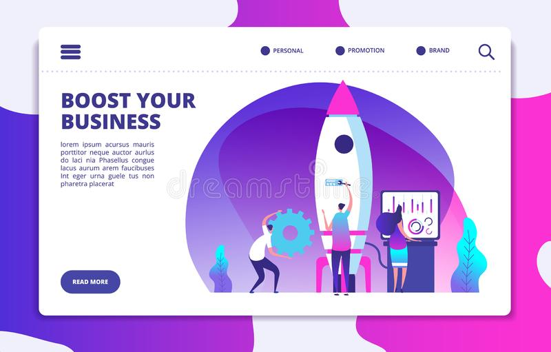 Startwebsitelandungsseite Leutestartrakete Auftriebsgeschäft einfach Kundengebundenes Vektorkonzept lizenzfreie abbildung