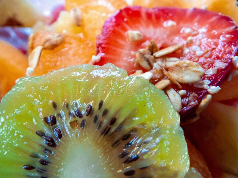 Starwberry Körner der Kiwi frühstücken lizenzfreies stockfoto