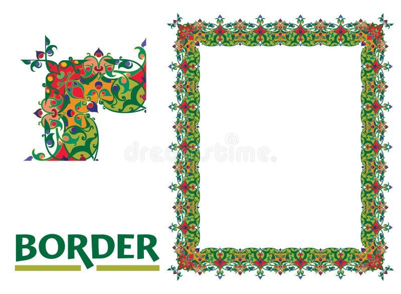 Stary Świat Graniczy wektor i kwitnie struktura Dekoracyjnego Eleganckiego styl - Kafelkowa rama w roślina liściach ilustracji