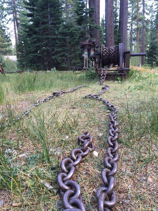 Stary łańcuch i korba obrazy stock