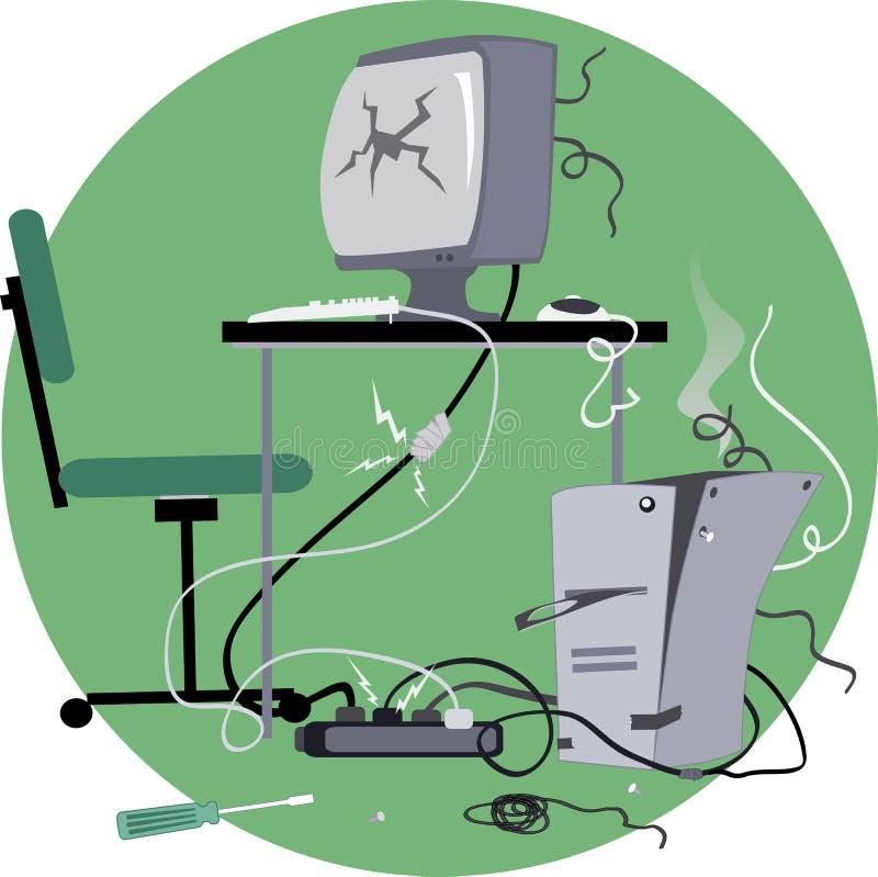 Stary łamający komputer ilustracji
