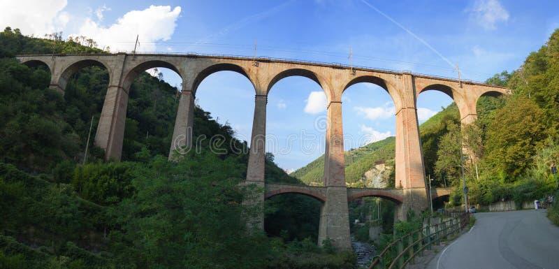 Stary łukowaty kolejowy most robić z cegłami fotografia royalty free