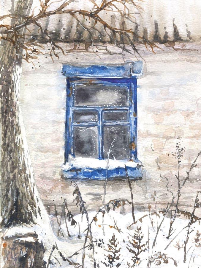 stary ściana okien ilustracja wektor