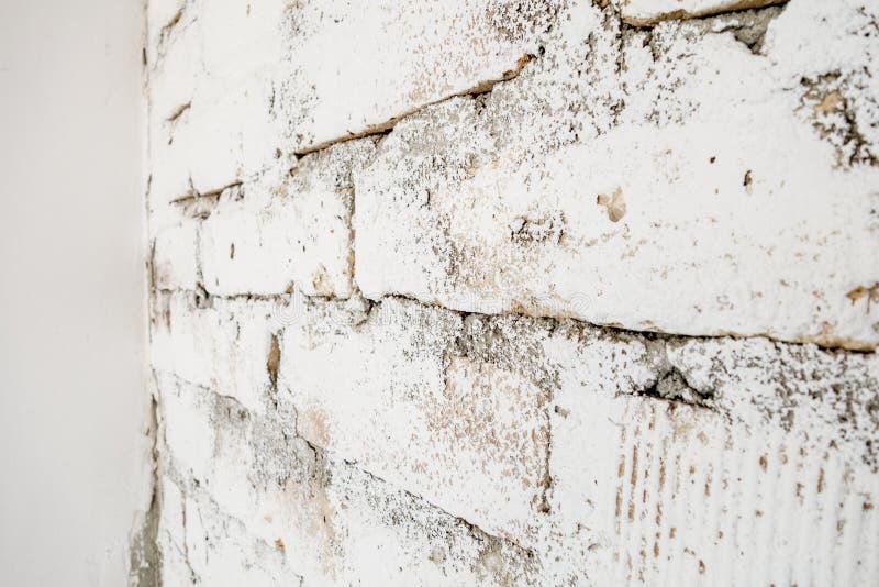 Stary ściana z cegieł bielu wzór obraz stock