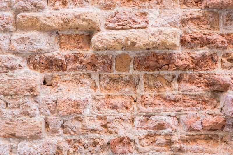 Stary ściana z cegieł dom w Wenecja, Włochy Płytki DOF fotografia stock
