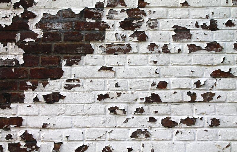 Stary ściana z cegieł z farbą struga daleko zdjęcie stock