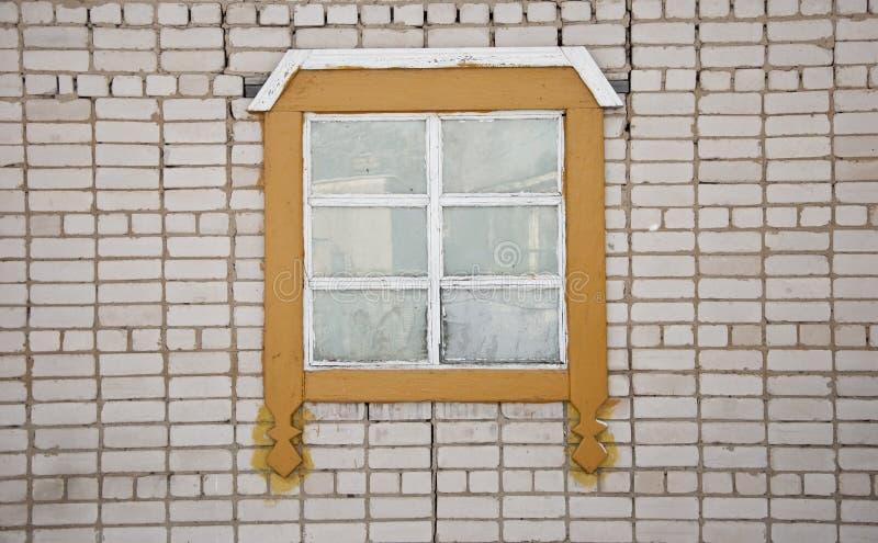 Stary ściana z cegieł z rocznika okno zdjęcie royalty free