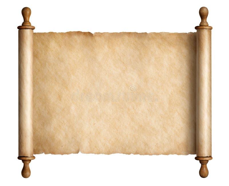 Stary ślimacznica pergamin z drewnianymi rękojeściami odizolowywał 3d ilustrację ilustracja wektor