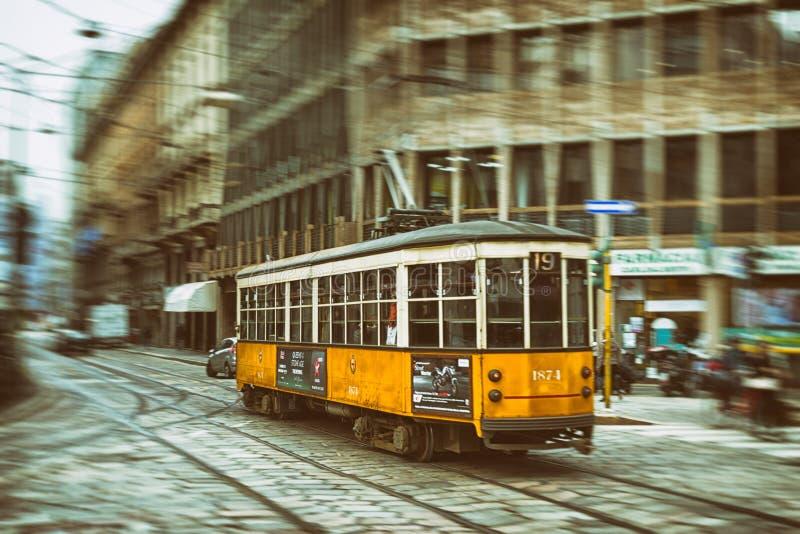 Stary żółty tramwaj obraz royalty free