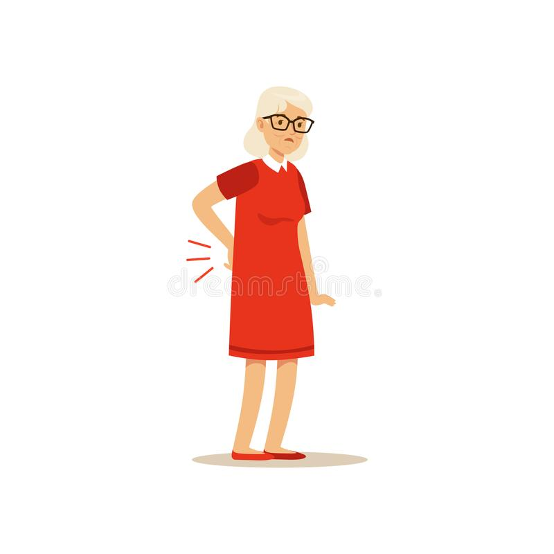 Stary Żeński charakter Złego bólu pleców Toon Colourful wektorową Śliczną ilustrację ilustracji