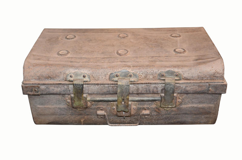 Stary żelazny kaseton na białym tle obraz royalty free
