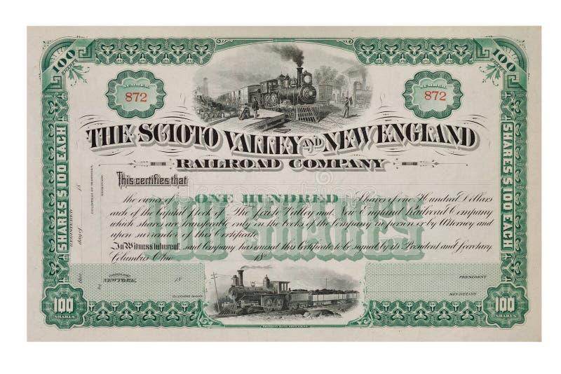Stary akcyjny świadectwo od 1800's zdjęcie royalty free