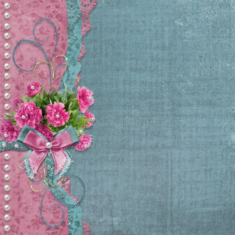 Stary album fotograficzny z pięknymi różowymi peoniami royalty ilustracja