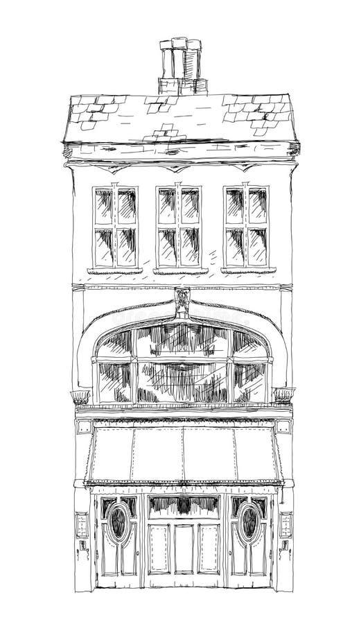 Stary Angielski grodzki dom z małym sklepem lub biznes na parterze Niewolna ulica, Londyn nakreślenie royalty ilustracja