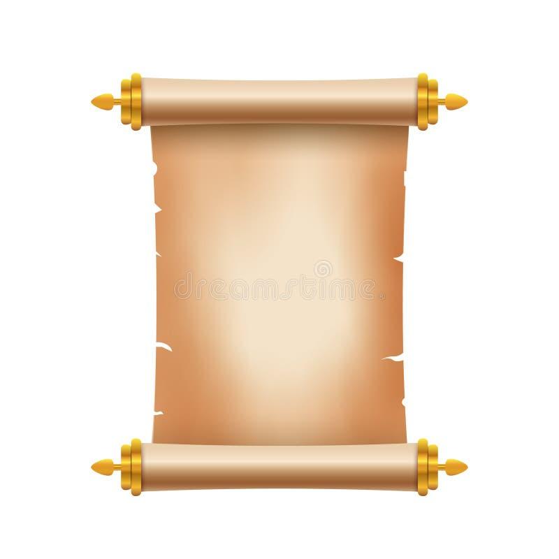 Stary antyczny ślimacznica papier z miejscem dla teksta Stara dokument ilustracja Papirusowy parchament sztandar antykwarska zwoj royalty ilustracja