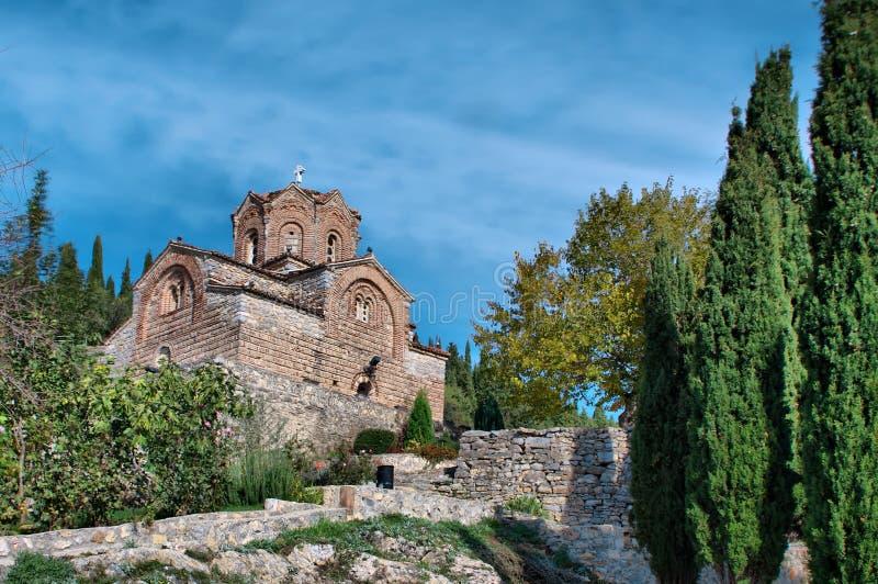 Stary antyczny kościół St. John/Jovan Kaneo w Ohrid, Macedonia obraz stock