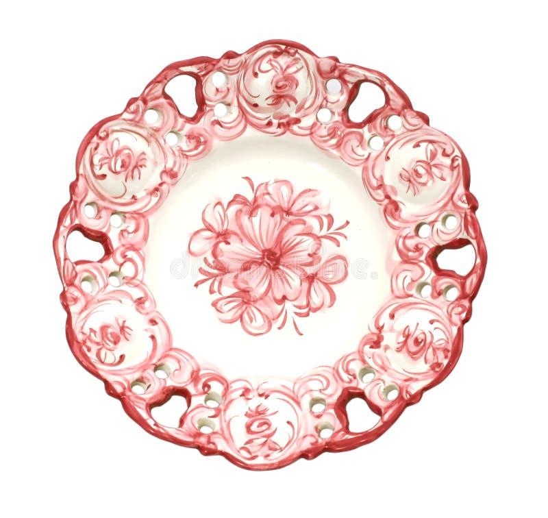 Stary antykwarski obiadowy talerz na białym tle fotografia royalty free