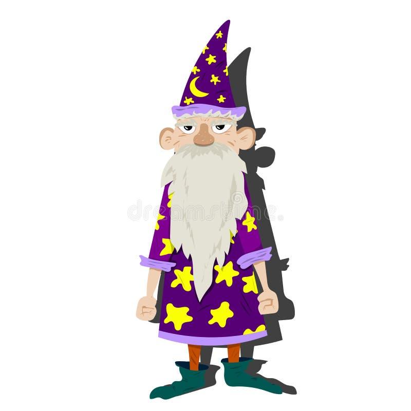 Stary astrolog z peleryną i kapeluszem ilustracja wektor