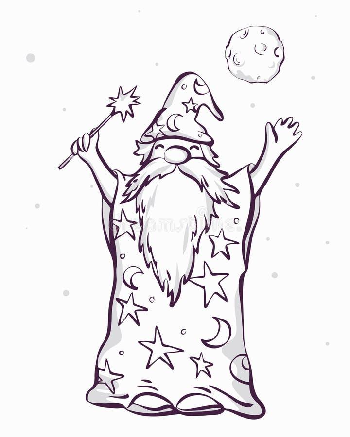Stary astrologa czarownik przygotowywający lany czary, kreskówka stylowy koloryt, wektorowa ilustracja ilustracji