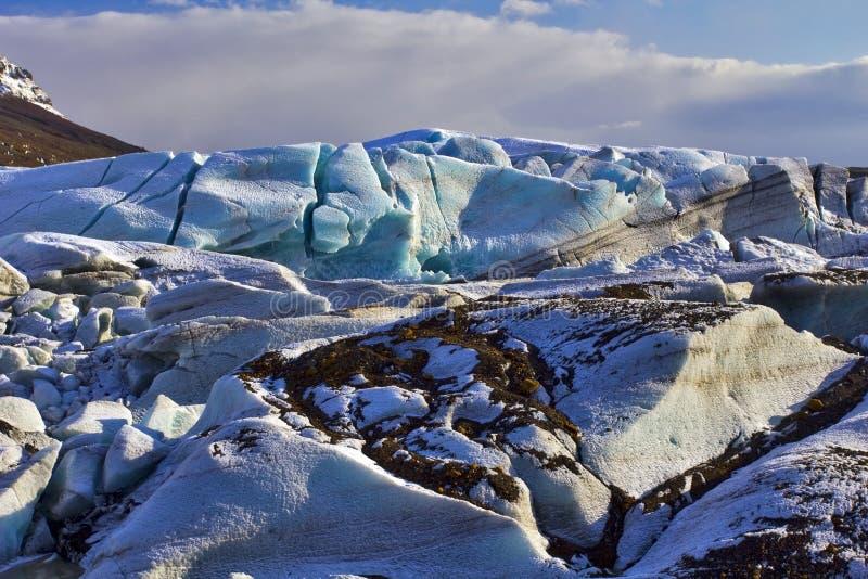 Stary Błękitny gleczeru lód, Svinafellsjokull lodowiec, Skaftafell, Iceland. zdjęcia royalty free