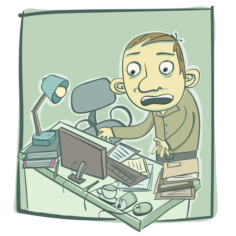 stary bałagan biurko ilustracja wektor